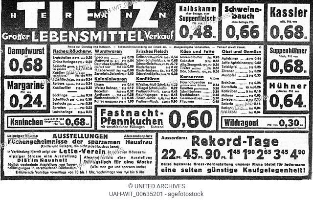"""Werbeanzeige mit Sonderangeboten des Warenhauses Hermann Tietz in der Zeitung """"""""Vorwärts"""""""" vom 28.02.1933, Sammlung Wittmann"""
