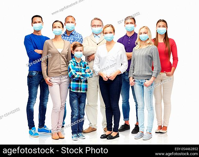 group of people of different age in medical masks