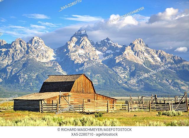 John Moulton Homestead, Barn, Morman Row, dates from 1890's, Grand Teton National Park, Wyoming, USA