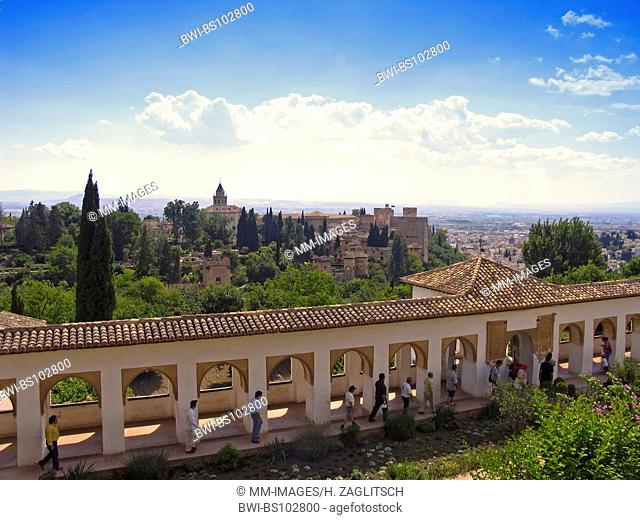 View from the Generalife to the Alhambra, Spain, Andalusia, Granada