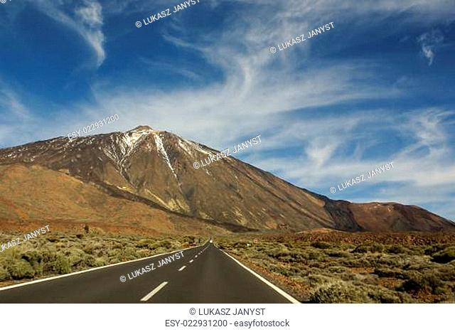 Straight road with El Teide in the background, Tenerife, Canary Islands