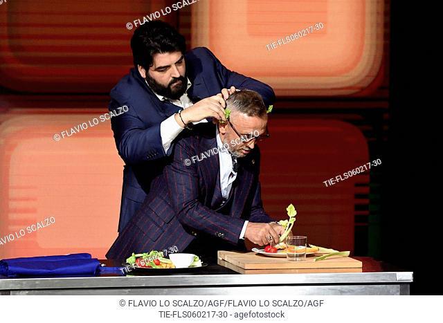 The Chefs Antonino Cannavacciulo and Bruno Barbieri at the tv show Che tempo che fa, Milan, ITALY-05-02-2017
