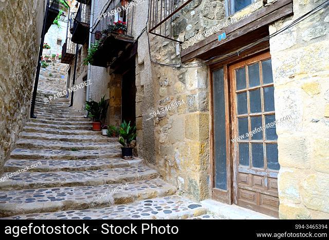 Curious retreat in the Old Town of Valderrobres, Matarraña, Teruel, Aragon, Spain