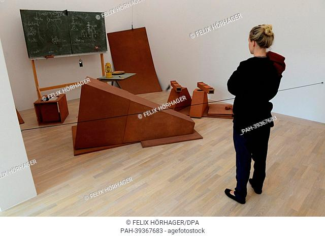 The work 'Vor dem Aufbruch aus Lager I' by Joseph Beuys is on display in the newly renovated Lenbachhaus in Munich, Germany, 06 May 2013