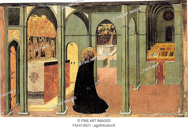 Saint Thomas Aquinas in Prayer, ca 1428-1432. Artist: Sassetta (1392-1450), Tempera on panel. Found in the collection of the Szepmuveszeti Muzeum, Budapest