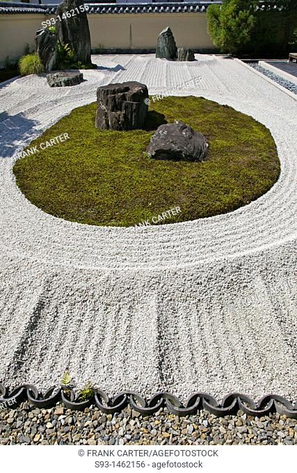 The rock garden 'Ishidan' in Ryogen-in Zen temple inside the Daitoku-ji temple complex