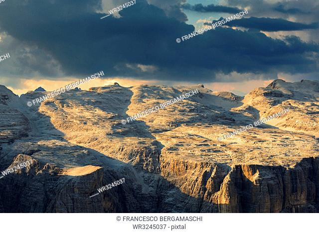 Sunset on Sella Plateau, Piz Pordoi, Pordoi Pass, Fassa Valley, Trentino, Dolomites, Italy, Europe