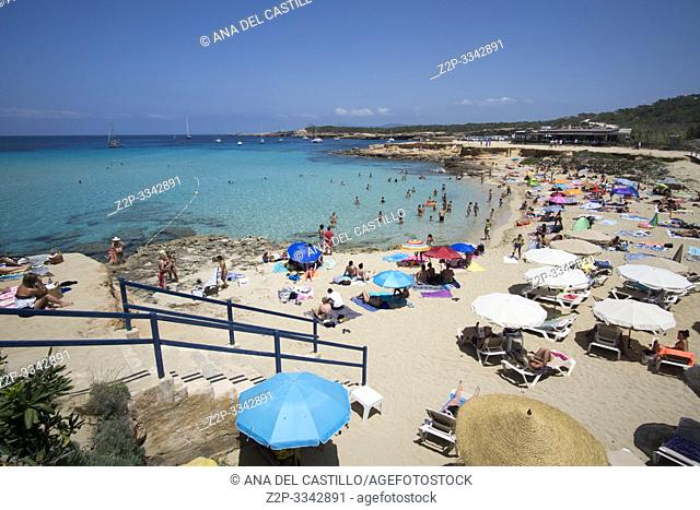 Ibiza Balearic islands Spain on June 20, 2019 Comte beach with the turquoise Mediterranean sea