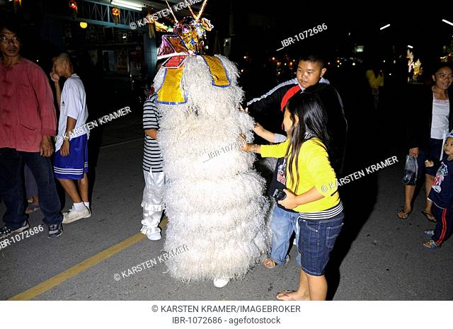 Loi Krathong, festival of light, float and costumes in a parade through the city centre, Mae Sariang, Thailand, Asia