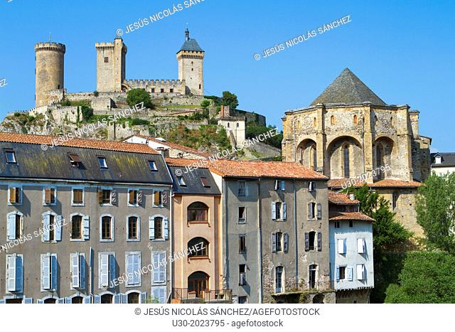 Foix castle view from the town, in Arige department of Midi PyrŽnŽes region. Cathar country. France