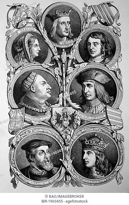 Habsburg kings: Rudolf I, Ferdinand V, Sigismund, Mathias Corvinus, Maximilian I, Charles V, historic woodcut, 1870
