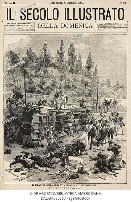Firenze-Fiesole electric railway disaster, Italy, illustration from Il Secolo Illustrato della Domenica, Year II, No 53, October 5, 1890