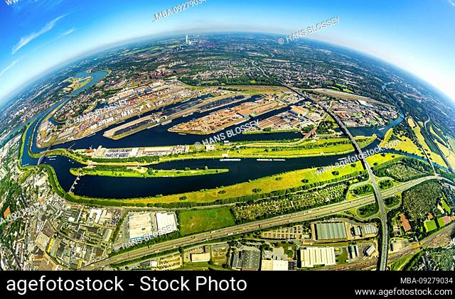 Aerial view as a fish eye image of Duisburg harbor Duisport AG on the Ruhr and Rhine-Herne canal with Ruhr mouth in the Rhine in outline and details in Ruhrort...