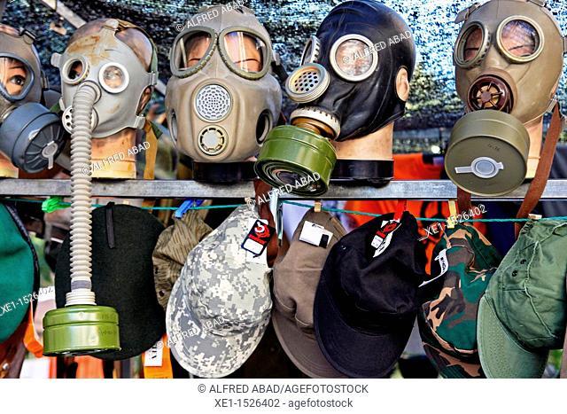 gas masks, El Rastro, Madrid, Spain
