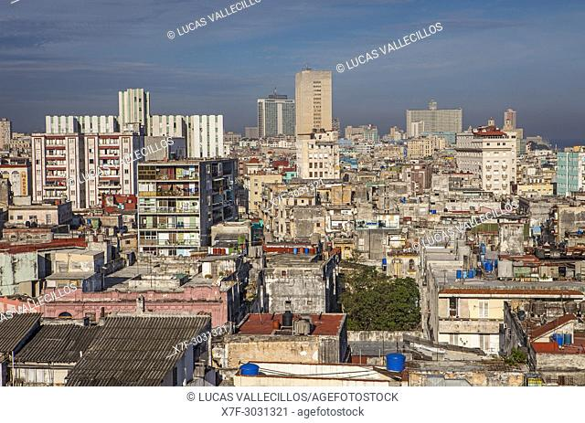 View of Centro Habana district and in background Vedado district, La Habana, Cuba
