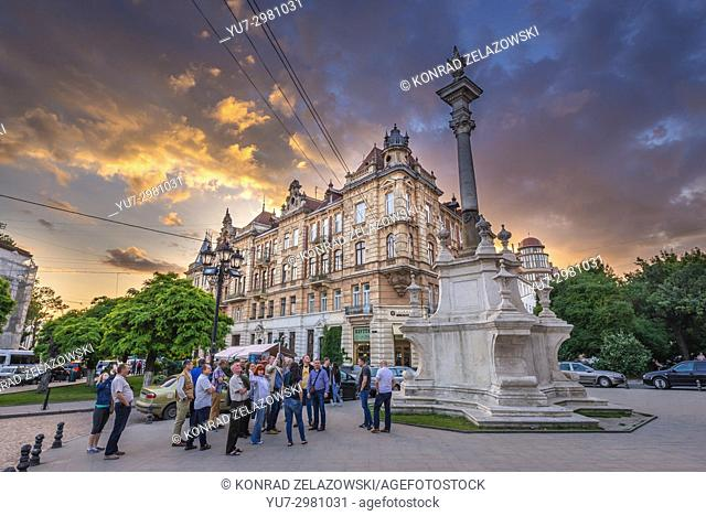 Column for Saint John Of Dukla in front of former Bernardine monastery on Bernardine Square in Lviv, largest city in western Ukraine