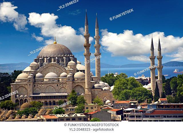 The Suleymaniye Mosque (Süleymaniye Camii, 1550-1558) on the Third Hill, Istanbul Turkey