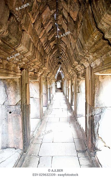 Details of the gallery at Baphuon temple, located in Angkor Thom, northwest of Bayon, Angkor, Siem Reap, Cambodia. The temple was built in the mid 11th century