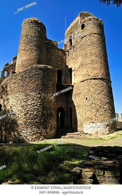 ruin of historic Iyasu Palace, Royal Enclosure Fasil Ghebbi, UNESCO World Heritage Site, Gonder, Gondar, Amhara, Ethiopia, Africa