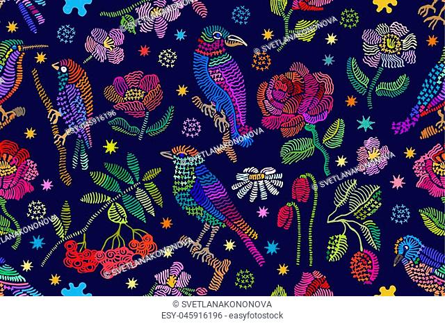 Seamless vector pattern with birds, branches and flowers. Vintage motifs. Retro textile design collection. Colorful on dark