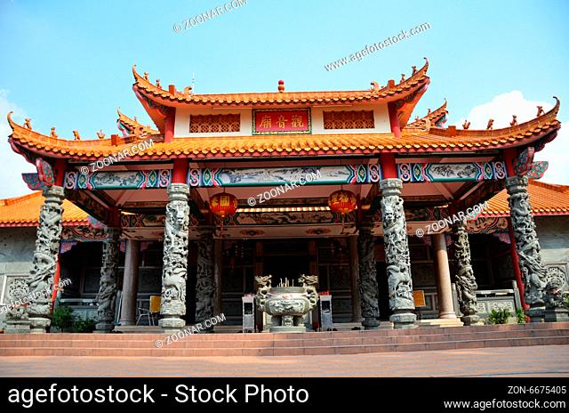 The ornate architecture at Guan Ying Temple in Malaysia