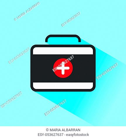 Medicine briefcase color icon with shadow on a blue background. Vector illustration
