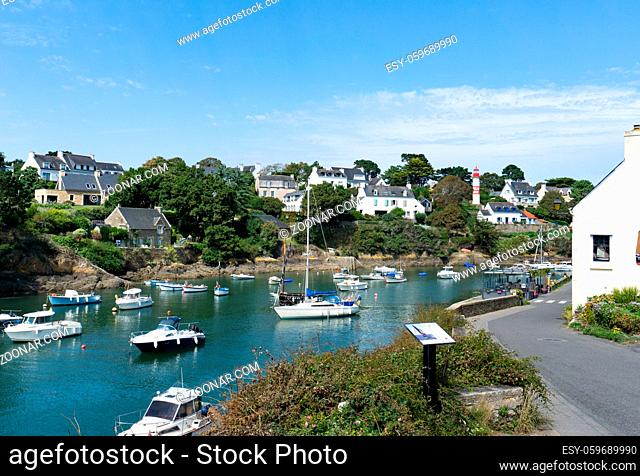 Clohars-Carnoet, Finistere / France - 24 August 2019: view of the picturesque Port de Doelan village and harbor in Brittany