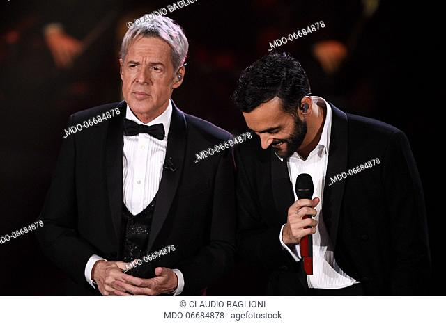 Italian singer Claudio Baglioni and Marco Mengoni during the second evening of the 69th Sanremo Music Festival. Sanremo (Italy), February 6th, 2019