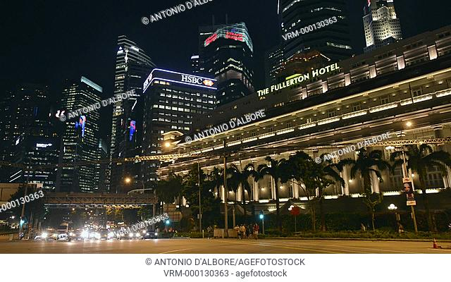 Night cars riding in the Central Business District. Singapore