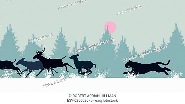 Editable vector illustration of a Siberian tiger chasing deer through snow
