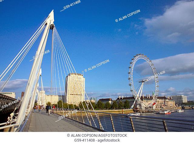 Hungerford Bridge and British Airways London Eye. London. England. UK