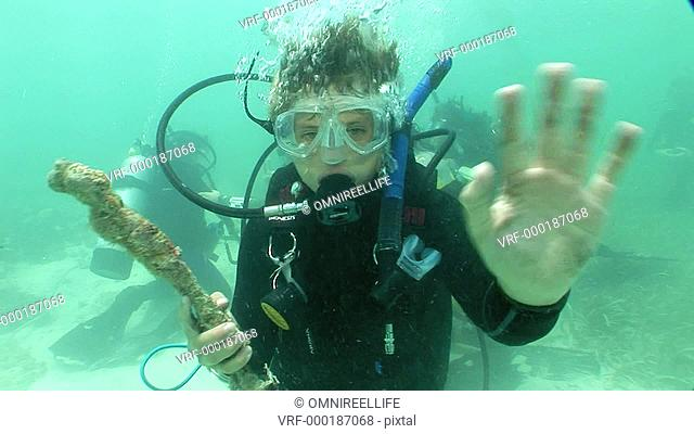 Teenage male scuba diver holding coral and waving to camera with other scuba divers behind