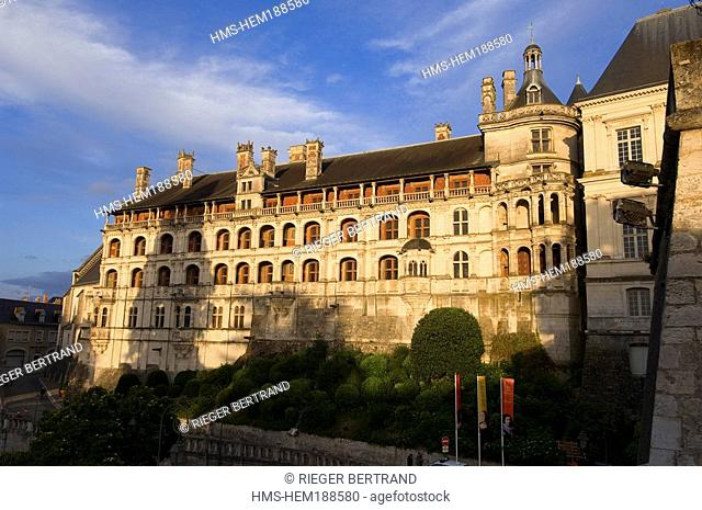 France, Loir et Cher, Loire Valley listed as World Heritage by UNESCO, Chateau de Blois, facade of the Loges in Francois I Wing
