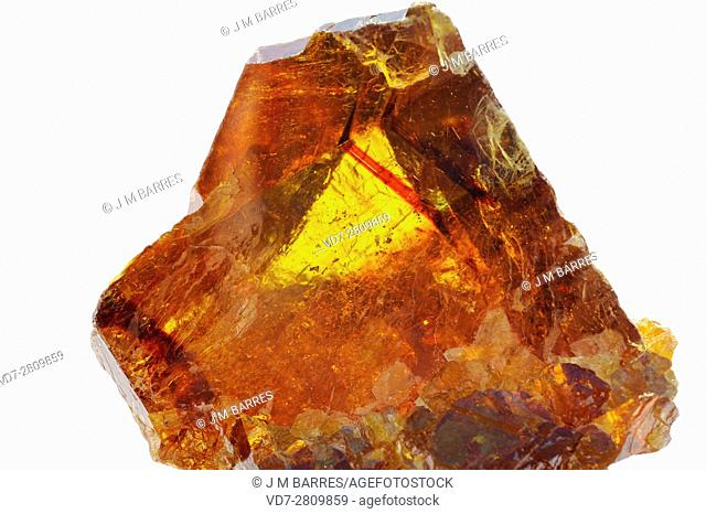 Sphalerite is a mineral, chief ore of zinc. Is a zinc sulfide with variable contains of iron. The sample comes from Asturias, Spain