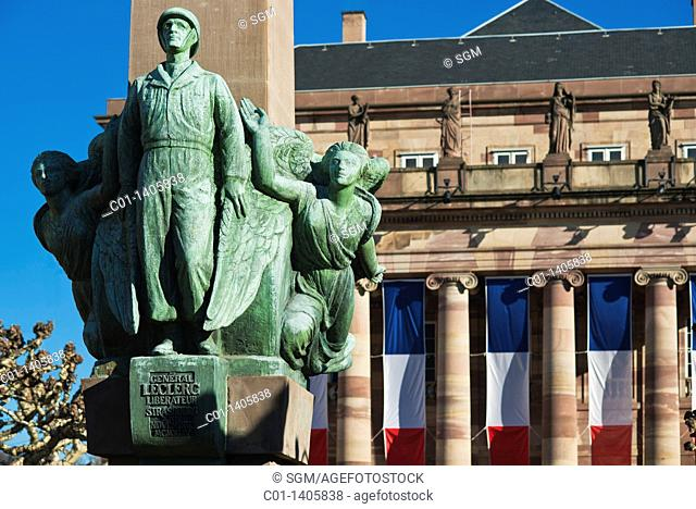 Maréchal Leclerc de Hautecloque, Marshal of France, memorial and Opéra house with French flags, Strasbourg, Alsace, France