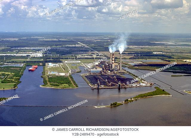 Aerial of Smoke stacks from Gipson Plant in Tampa Florida