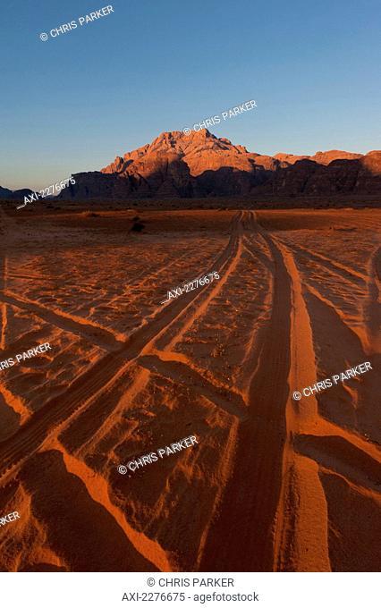 Tire tracks in the desert; Wadi Rum, Jordan