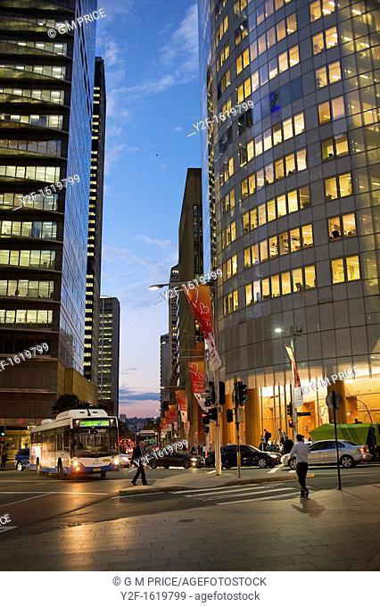 pedestrians and cars on Phillip Street, Sydney