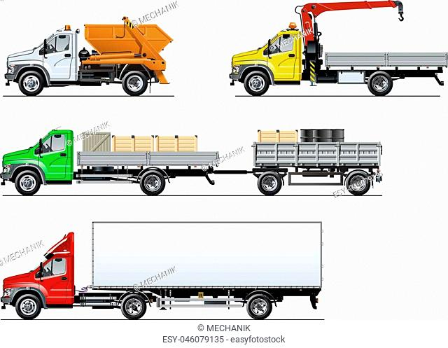 Vector spec trucks set isolated on white. Available EPS-10 separated by groups and layers with transparency effects