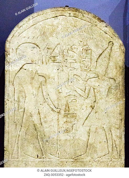 Egypt, Cairo, Egyptian Museum, stele : Amenhotep II offers a pyramidal cake to Ra-Horakhty. From Heliopolis