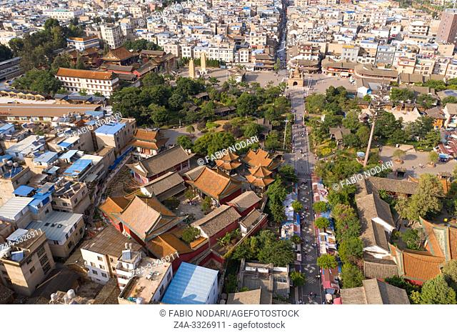 Kunming, China - May 30, 2019: Aerial view of Guandu Old Town, one of the landmarks in Kunming, Yunnan's capital