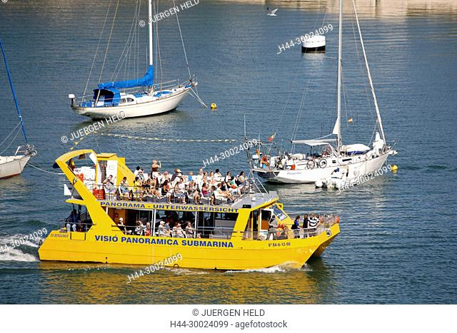 Spain Menorca Mahon Glass Bottom boat with tourists