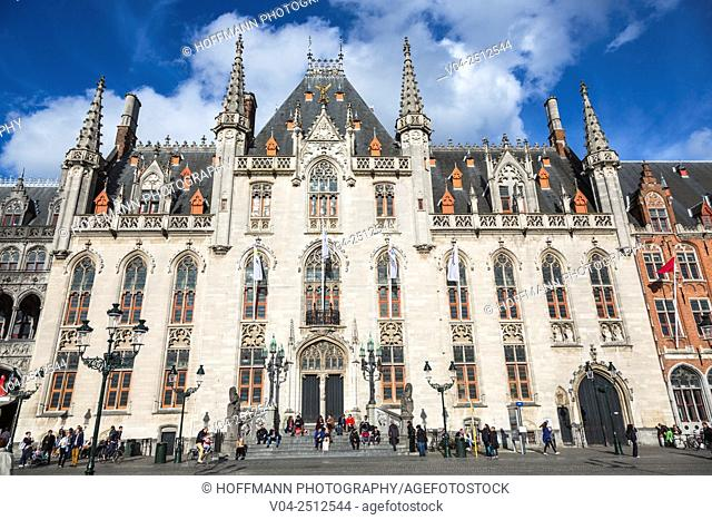 The beautiful Provinciaal Hof (Province Court) in the picturesque city of Bruges, Belgium Europe