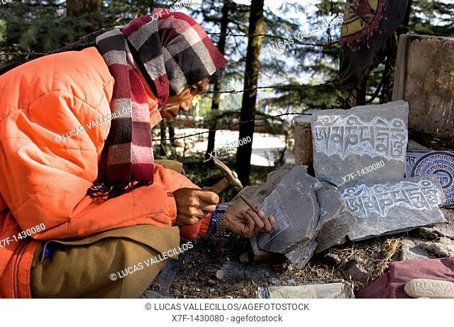 Craftsman Tibetan inscriptions  In Lhagyal Ri,near Tsuglagkhang complex, McLeod Ganj, Dharamsala, Himachal Pradesh state, India, Asia
