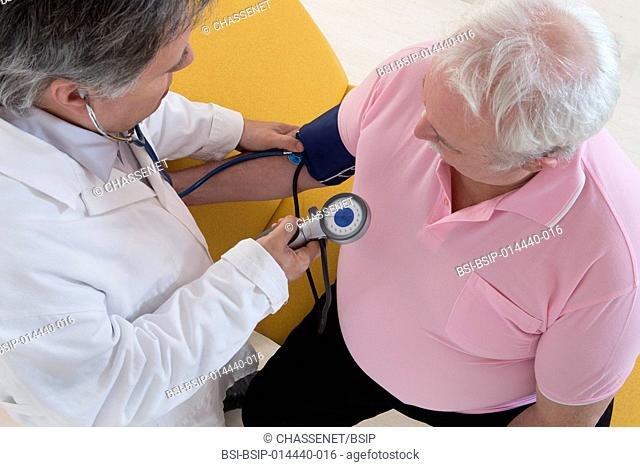 Doctor measuring a overweight patient's blood pressure