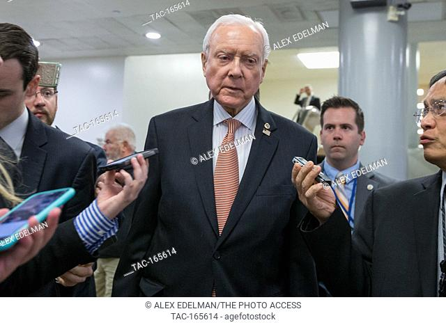 Senator Orrin Hatch (R-UT) speaks with reporters about the ACHA in the capitol subway on May 10th, 2017. Hatch was recently appointed to the Senate Health Care...