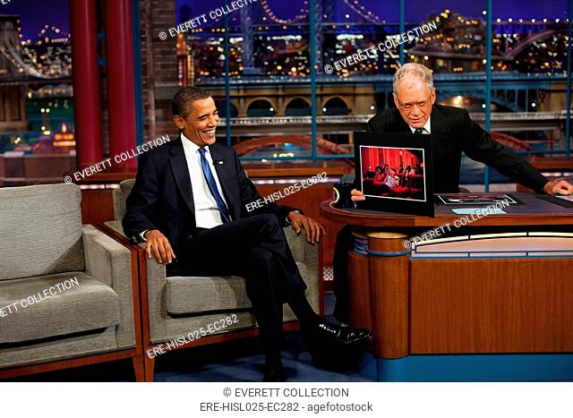 President Obama reacts to a photograph of himself displayed by David Letterman during his appearance on Sept. 21 2009., Photo by: Everett...