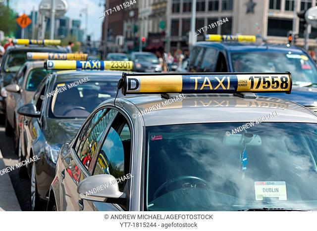Dublin Taxi rank in City Centre, Republic of Ireland
