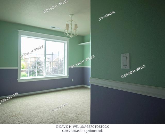 Chandelier inside a foreclosed house in Portland, Oregon