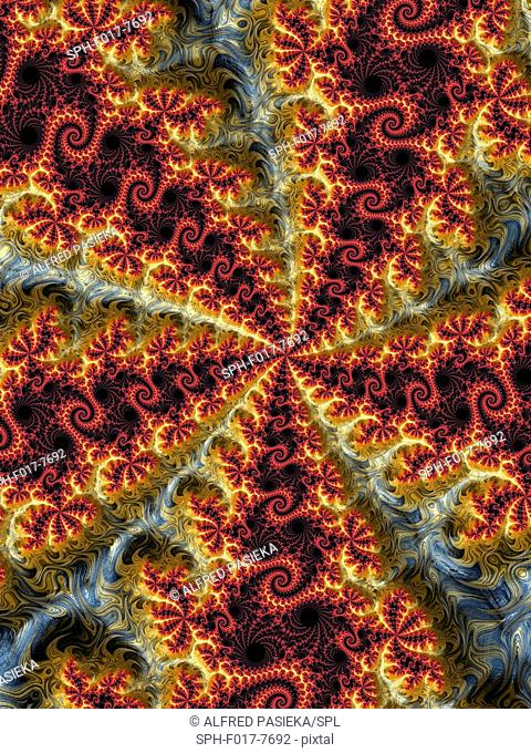 Julia fractal. Computer-generated dragon fractal derived from the Julia Set. Fractals are patterns that are formed by repeated subdivisions using some simple...